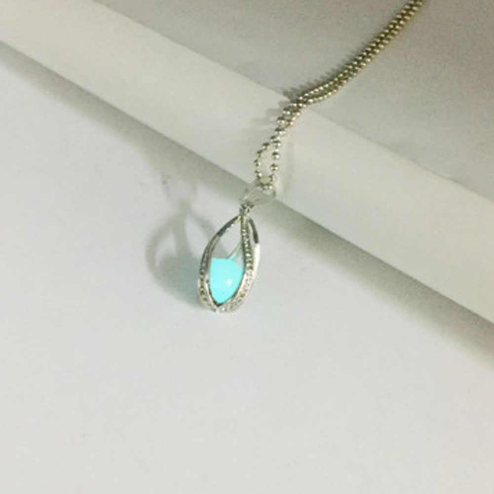 1 pc Women's Fluorite Glow In The Dark Mermaid's Teardrop Hollow Charm Luminous Stone Pendant Statement  Necklace NL1136