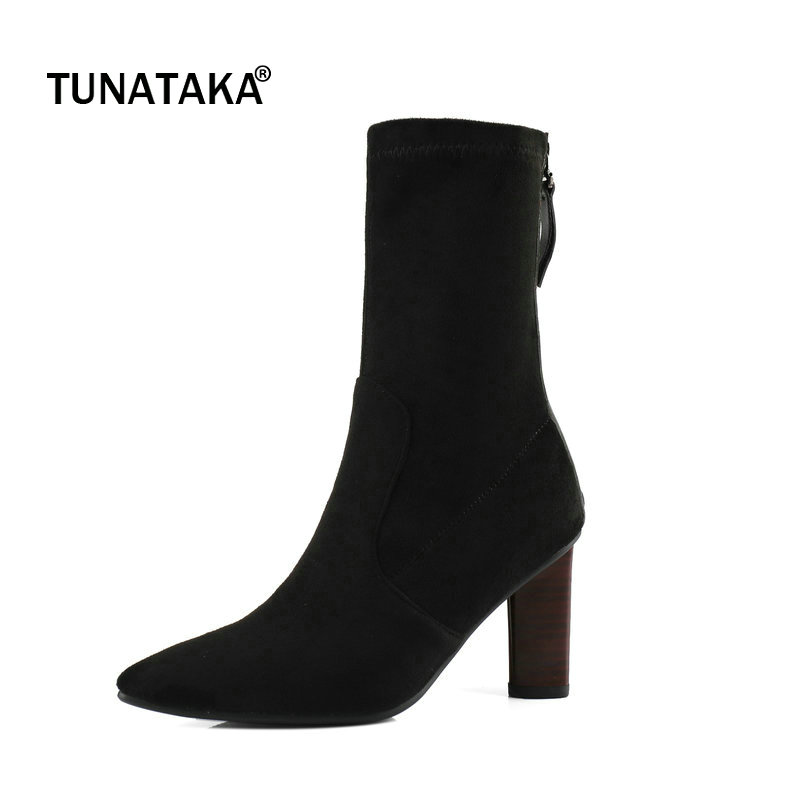 Suede Square High Heel Zipper Woman Ankle Boots Fashion Pointed Toe Ladies Stretch Boots Black Wine Red
