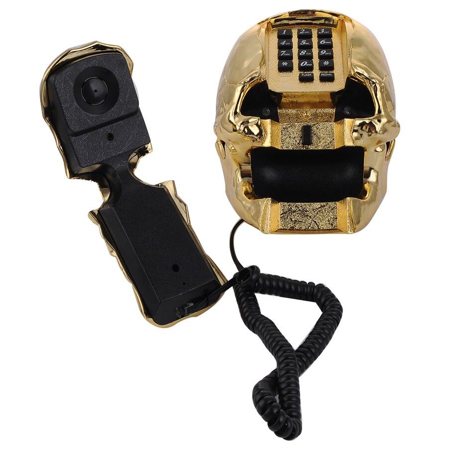 Newest telefone LED light Skull Skeleton Telephone Flashing Eyes Corded Land Line 1 Skull Head Home Desk Telephone 3 Color 1PCS