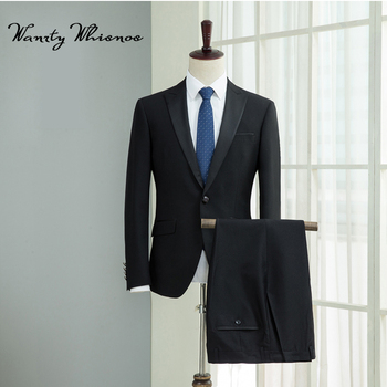 2018 New Mens Black Suits Male Blazer Suits Men Casual Suit Slim Fit Prom Groom Party Man Wedding Suit For Men 2 Pieces