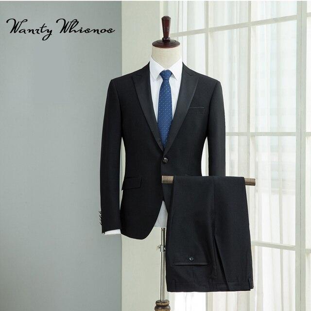 2018 nuevos trajes negros para hombre 469867e6d28
