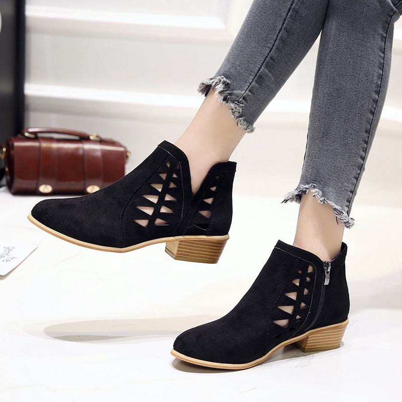 Rimocy 2019 spring hollow out single shoes woman faux suede round toe square heels pumps women 4cm med heels casual shoes femme 40