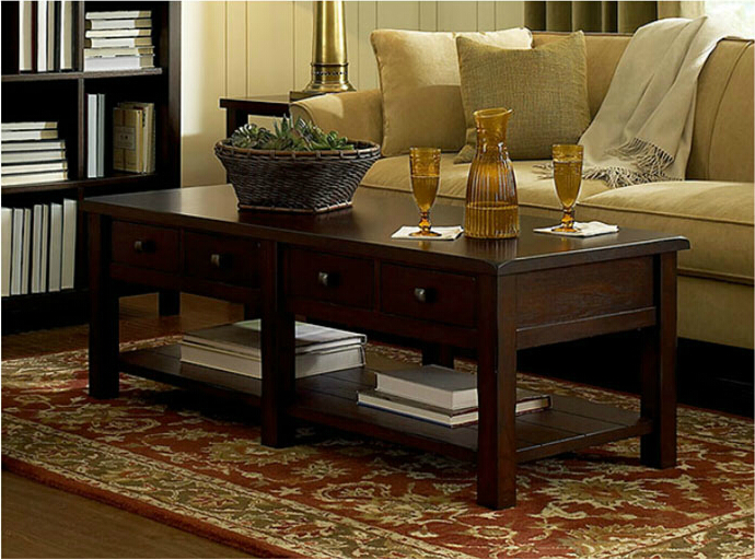 Cheap Wood Coffee Table Corner Western Style Living Room Rustic With Storage Features Several