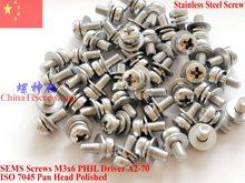 SEMS винты из нержавеющей стали M3x5 M3x6 головка 1 # Phillips драйвер полированный ROHS 100 шт