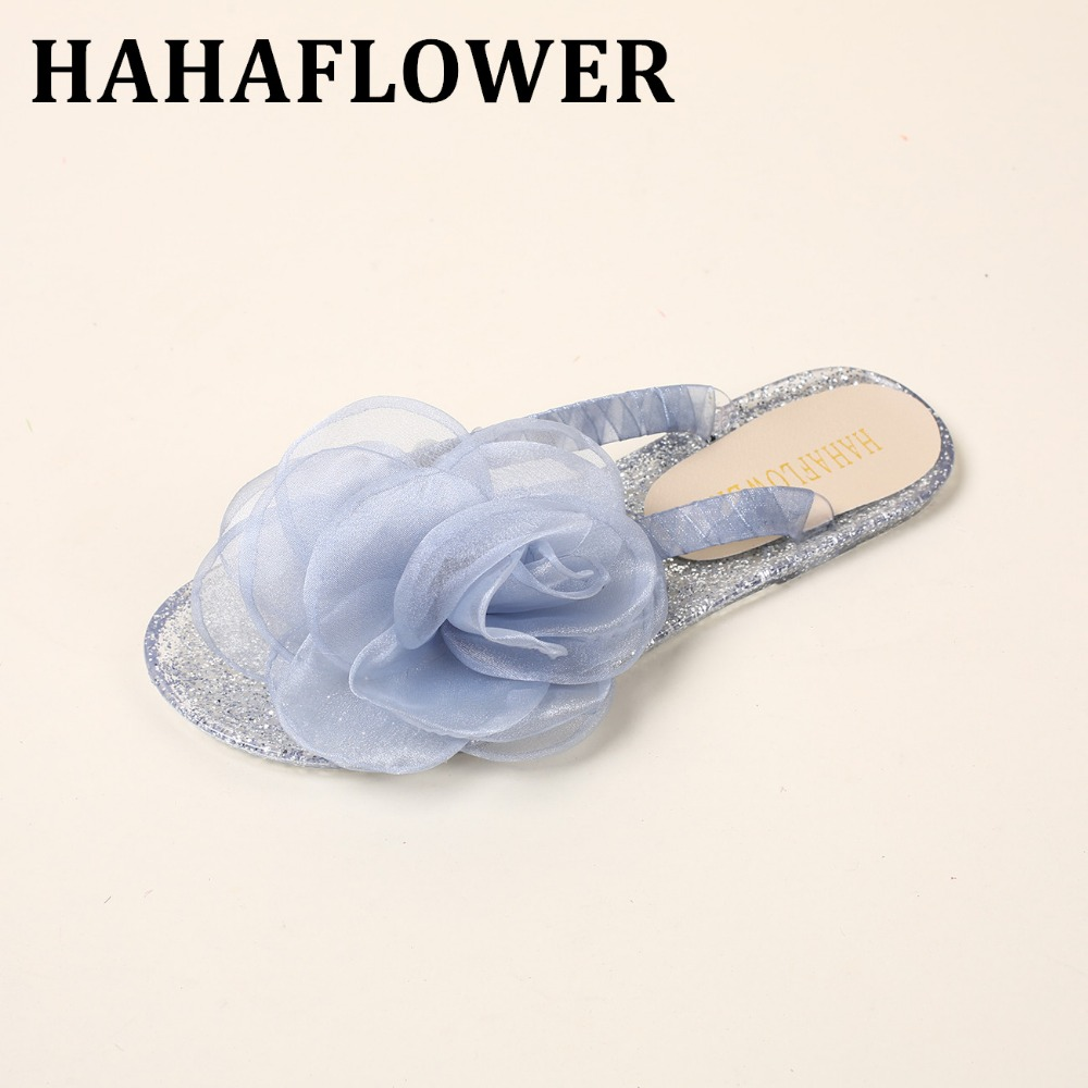 HAHAFLOWER Sexy Lady Flat Sandals Summer Shoes Women big  Rose flower Flats Flip Flop  Beach Female Footwear  A16 women jelly shoes candy sandals luxury brand summer beach flats bowknot shoes casual lady fashional envirionmental shoes female