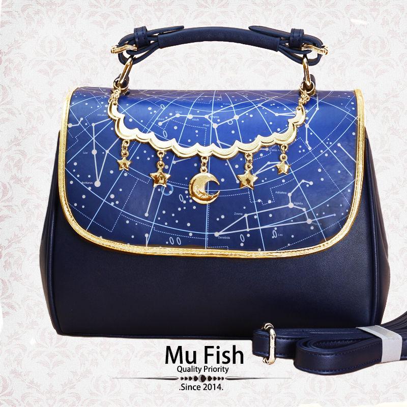 Japanese Gothic Lolita Vintage Harajuku Sweet Galaxy Star Handbag Shoulder Bags Tote princess sweet lolita gothic lolita shoes custom harajuku platform zipper style 9826 black