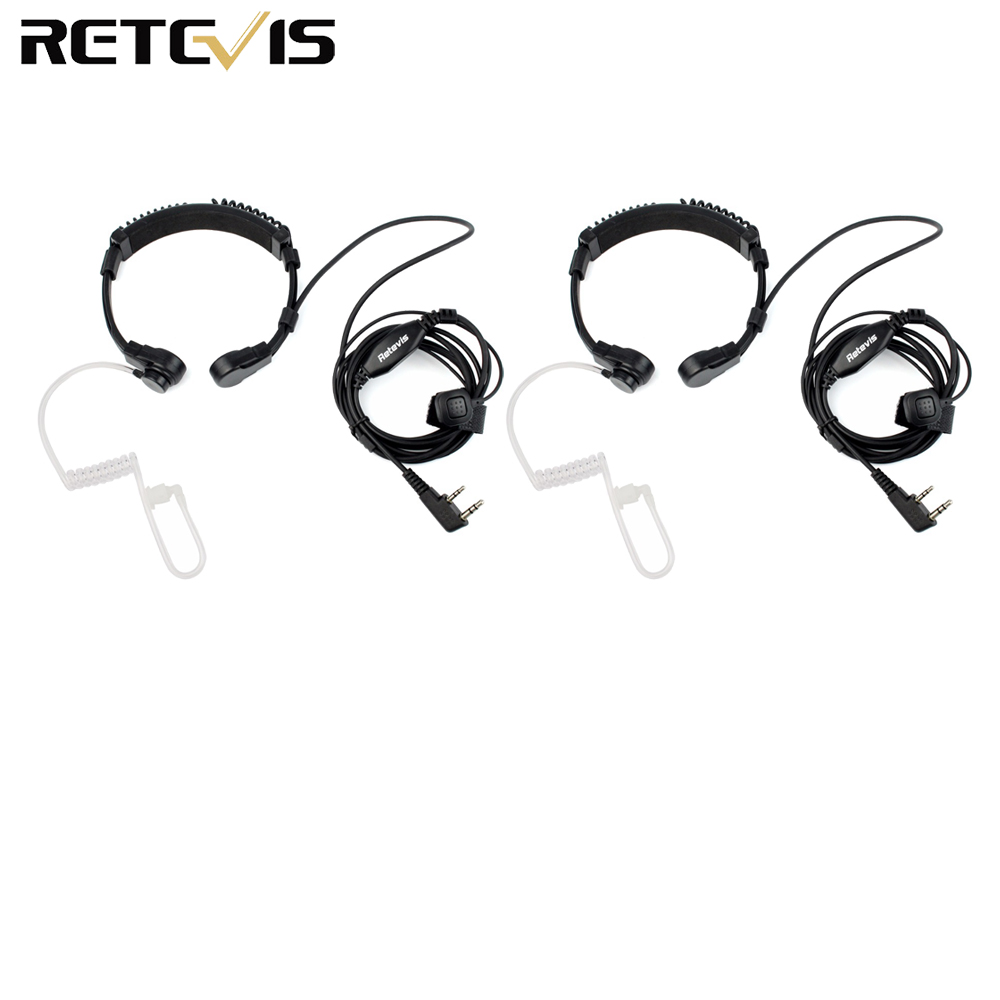 2pcs Throat Microphone 2 Pin PTT Headset Laryngophone For KENWOOD Retevis H777 TYT BAOFENG BF-888S UV-5R  Walkie Talkie C9026A