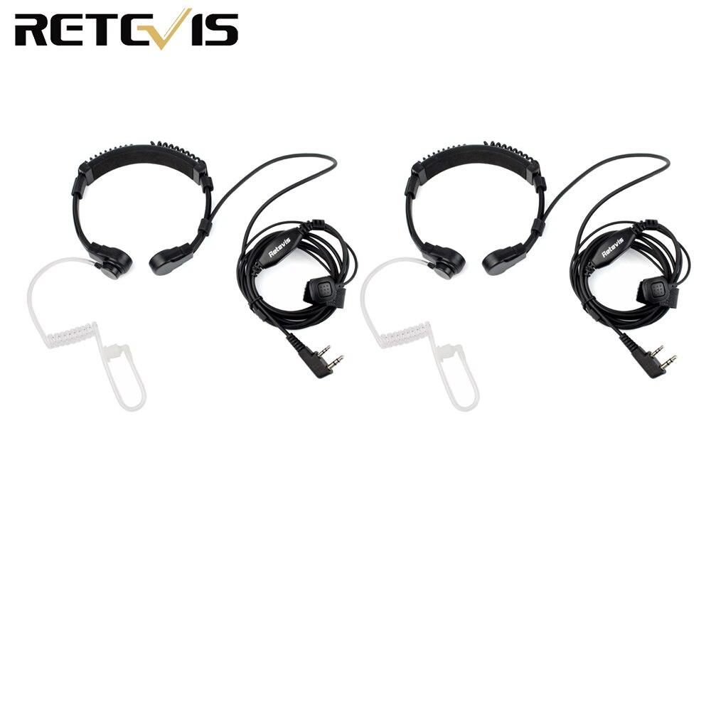 2pcs Throat Microphone 2 Pin PTT Headset Laryngophone For KENWOOD Retevis H777 TYT BAOFENG BF-888S UV-5R  Walkie Talkie C9026A