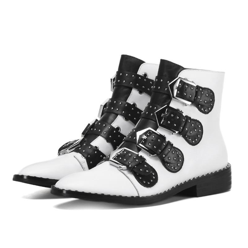 Hiver Boucle Talons En Pour Dames Casual Femme Smirnova Nouvelle Cuir Épais blanc Automne Noir Véritable Bottes 2018 Arrivée Cheville Chaussures z7qnawP0