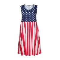 d1fb1a3776 Sexy Women Flag Print Round Neck Sleeveless Casual Beach Dress American Flag  Ladies Fashion Summer Female