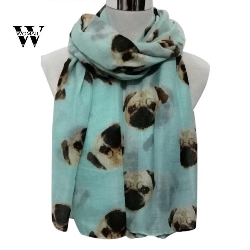 Lady Womens Long Cute Pug Dog Print   Scarf     Wraps   Shawl Soft   Scarves   Spring Dec 5