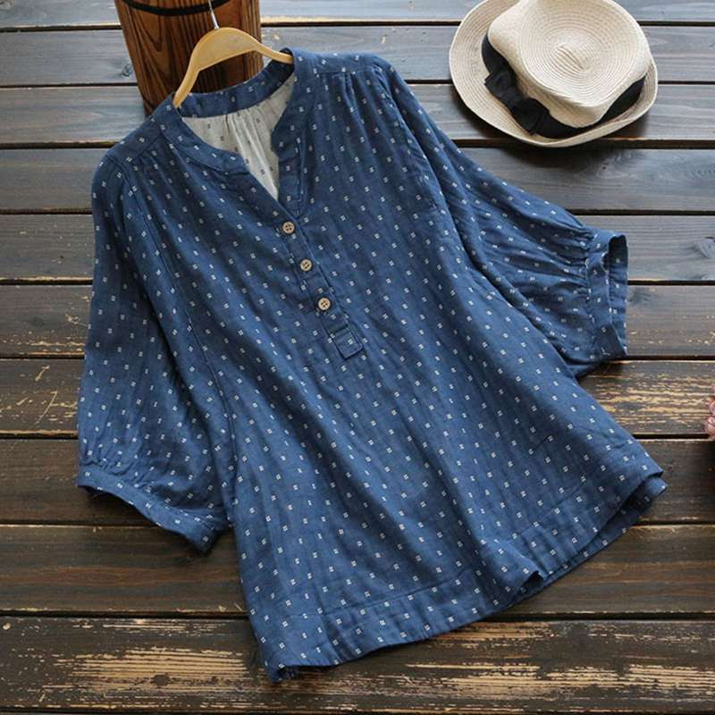 Las De Floral Mujer Mferlier Camisas Lino Algodón Casual Vintage Mujeres Tops Manga Y Blusas Estampado rosado Batwing Azul zI4qA4w7
