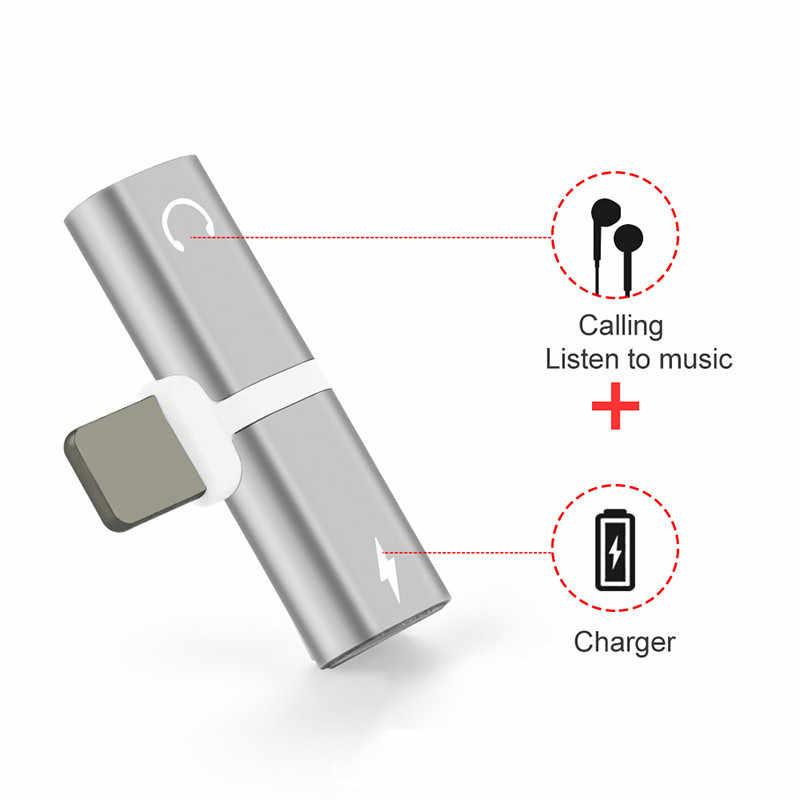 2 w 1 podwójne porty słuchawki akcesoria do telefonów komórkowych etui na Iphone 7 8 Plus 6 s 8 plus XS Max XR pokrywa ładowarka rozdzielacz audio