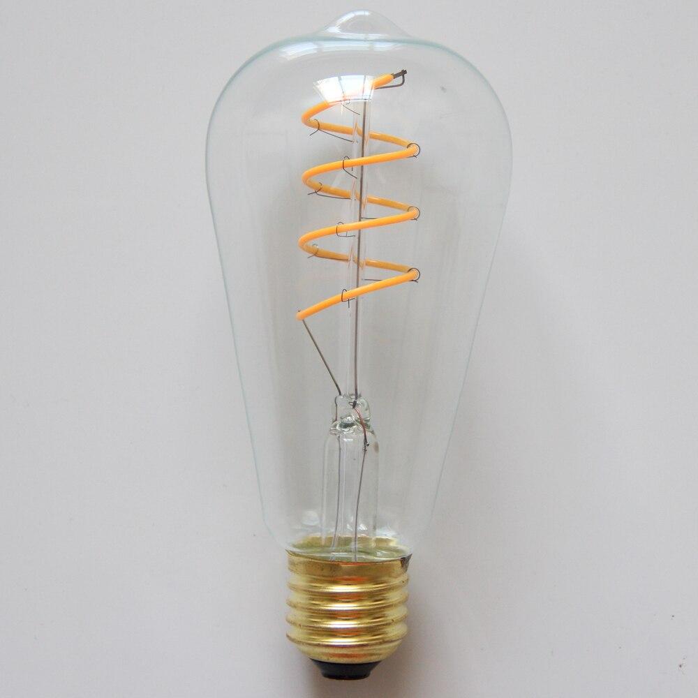 T10 E26 E27 4w Led Vintage Antique Filament Light Bulb: ST64 4W Antique LED Filament Bulb 2700K Dimmable E26 E27
