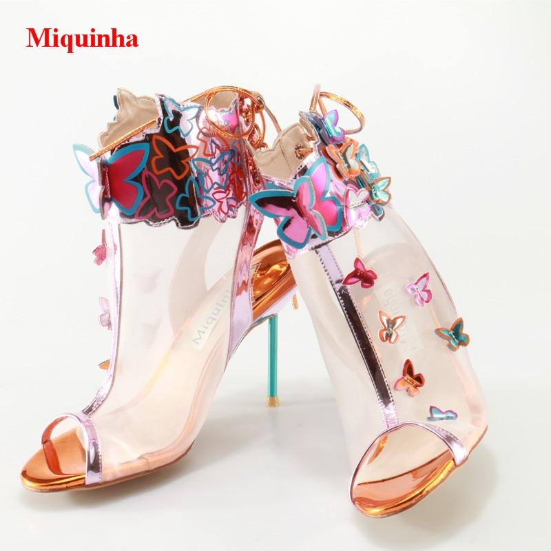 Las Air Casuales 2018 Appliques Mariposa Mesh Mujeres Thin Peep Sandalias Verano Slingback Heel Toe Encaje Zapatos Hasta Pqawqp