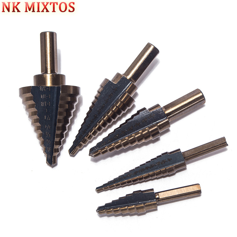 NK MIXTOS 5pcs/Set HSS COBALT MULTIPLE HOLE 50 Sizes STEP DRILL BIT SET w/ Aluminum Case pegasi high quality 5pcs 50 sizes hss