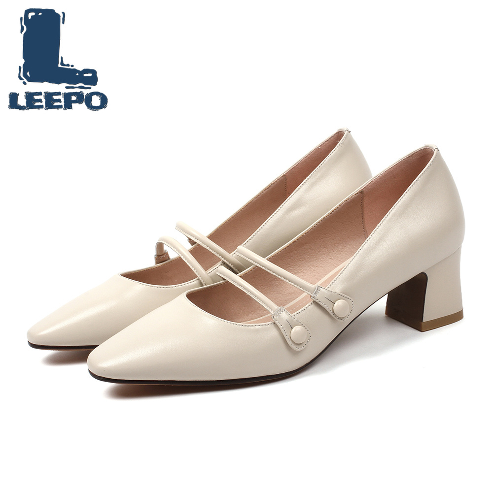LEEPO Mary Jane Shoes for Women Made of Genuine Leather Heels Ladies Solid Round Toe Woman