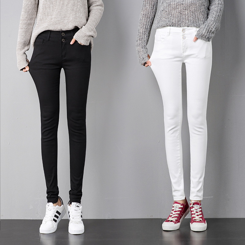 Ship from russia top quality Stretch Black   Jeans   Woman 2018 Pants Skinny Women   Jeans   With High Waist Denim White   Jeans
