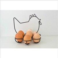 Creativa Forma de Arte Del Hierro Titulares de Huevo de Gallina de Pollo Diseño Estilo Antiguo De Imitación De Hierro de Almacenamiento de Cocina Decoración Del Hogar Regalo