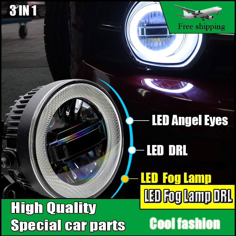Car-styling LED Daytime Running Light Fog Light For Ford Transit Connect 2014 2015 LED Fog Lamp Angel Eyes DRL 3-IN-1 Functions 2x 3 inch 76mm round led cob projector fog light lamp bulbs with green angel eyes halo ring drl daytime running lamp car auto