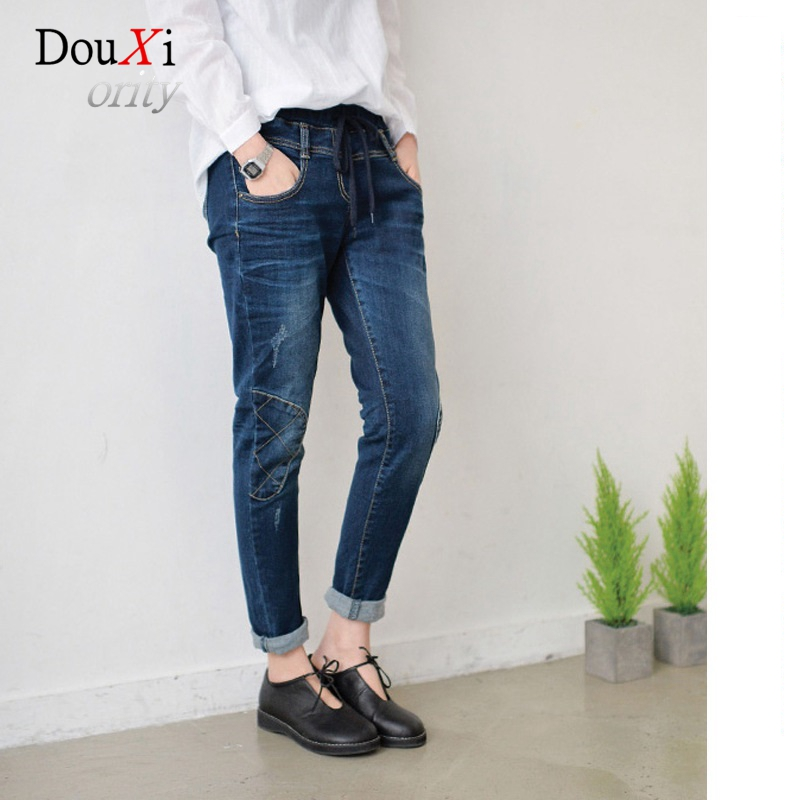 Douxiority 2017 Women Jeans Harem Pencil Pants Stretch Loose Jeans Female Trousers Plus Size 5xl Elastic Waist Slim Denim Pants high waist jeans women plus size femme stretch slim loose large size jeans pants 2017 casual ankle length haren pants trousers