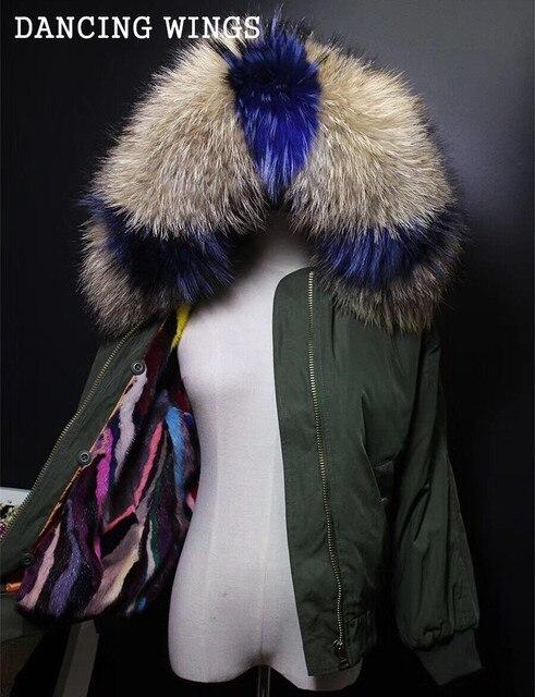 natural real mink fur liner winter short jacket flight suit luxury large raccoon fur collar parka waterproof winter coat