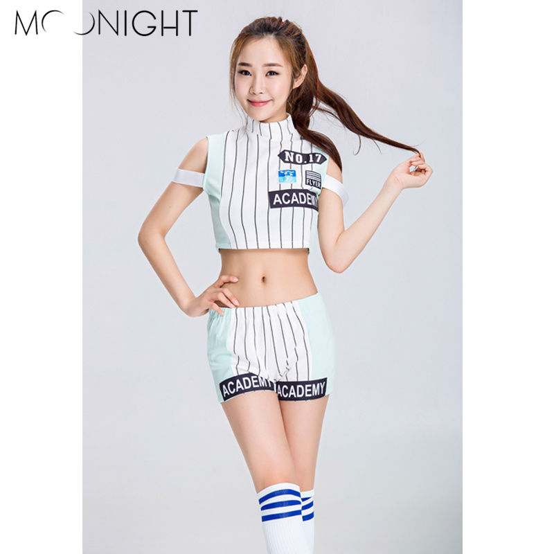 MOONIGHT Sexy High School Girl Cheerleader Costume Cheerleading Performance Clothing With Tops+Shorts