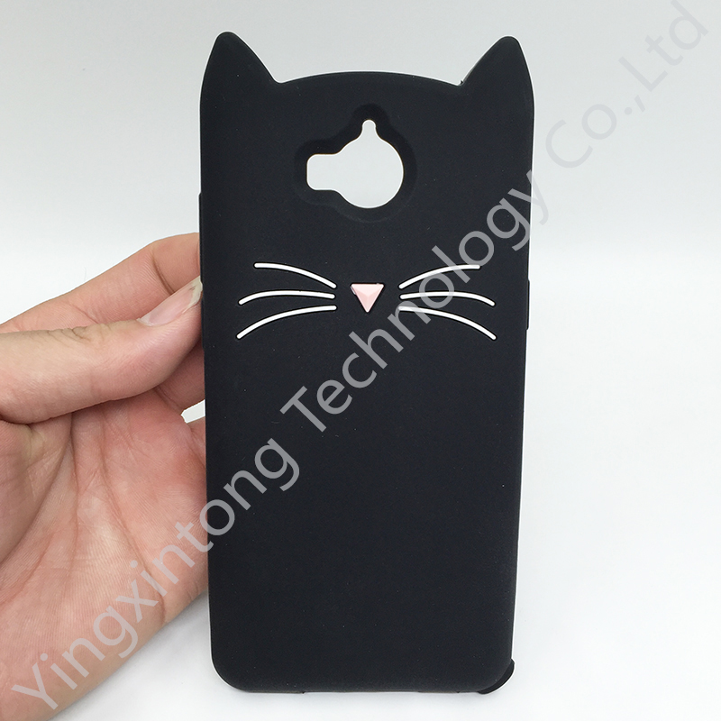 Coque de téléphone en forme de chat mignon 3D, étui souple en Gel de silicone pour Huawei Y6 2017 Y5 2017 2017