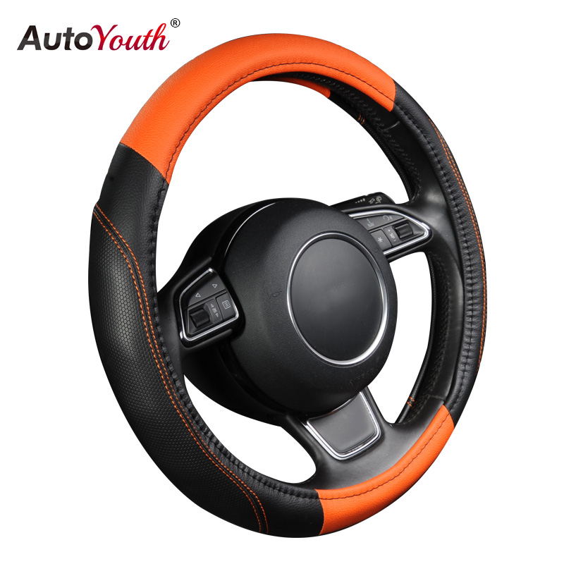 AUTOYOUTH Car Steering Wheel Cover Universal New Sports Style Anti-SLIP Orange Color Pu Leather Steering Wheel Cover Car Styling autoyouth hot car wheel cover pu leather steering wheel cover fit 38cm red wavy bold line for vw golf 4