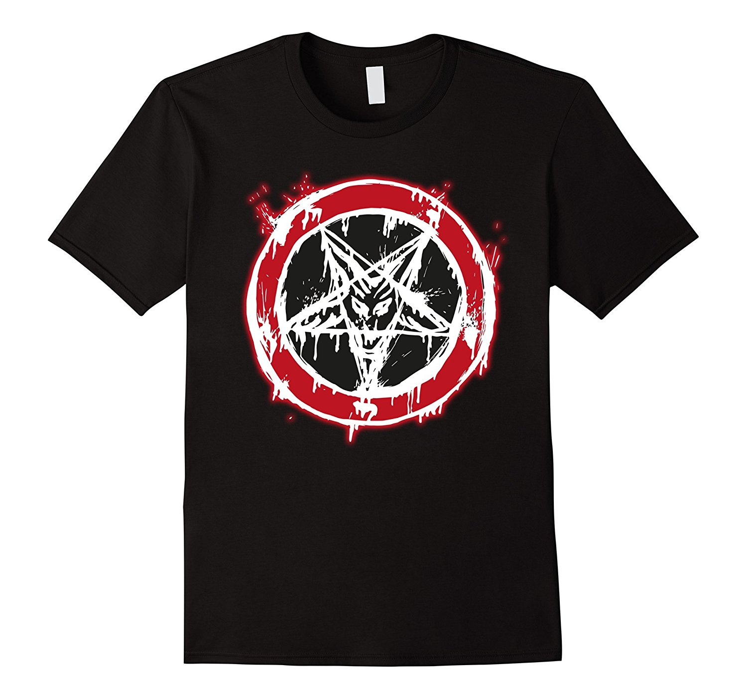Mens Baphomet Pentagram Blood 666 Goat Head Satan Mens T Shirt Men 2018 Brand Clothing T ...