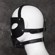 Fetish Slave Mask Hollow Leather Headgear for sissies and crossdressers