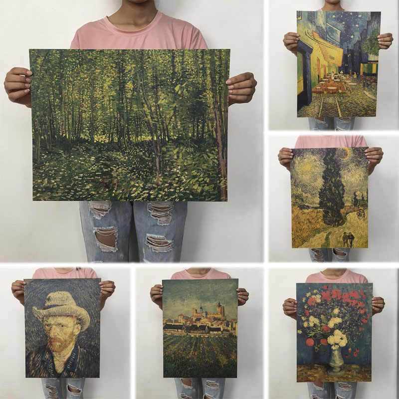 mling 1PC 51.5x36cm Retro Kraft Paper Van Gogh Series Poster Modern Abstract Art Oil Painting Bar Cafe Wall Sticker Decorative