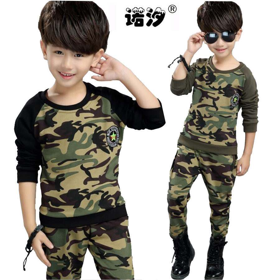 Boys clothing sets 4-14 Y Baby boys clothes sets cotton camouflage tops t shirt+pants 2 pcs/set teenage clothes children outwear