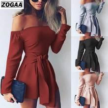 ZOGAA Summer Slash Neck Jumpsuit Women Rompers Sexy Bodysuit Bow Playsuit Long Sleeve Catsuit Cotton Ladies