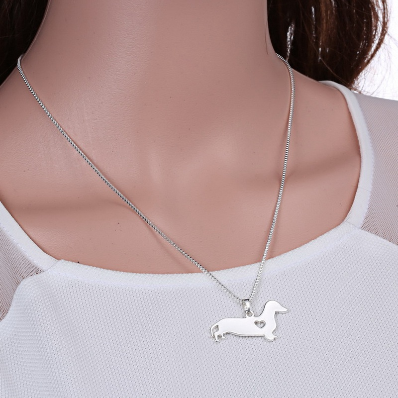 Unisex Fashion Popular Alloy Dog Bulldog/Chihuahua/Dachshund/Doberman Shape Pendant Silver Chain Necklace Animal Jewelry Gift