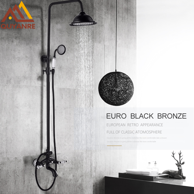 Quyanre Black Antique Brass Shower Faucet Set Porcelain Deco Bathtub Shower Kit Spray Dual Knobs Mixer Tap Swivel Tub Spout quyanre antique brass shower faucets set 8 rainfall shower head commodity shelf handle mixer tap swivel tub spout bath shower