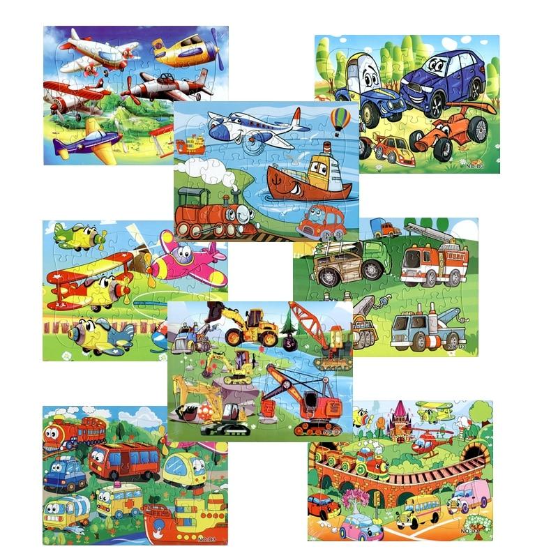 21*28CM 40 Pieces Paper Cartoon Transport Plane Car Truck Jigsaw Puzzle Toy
