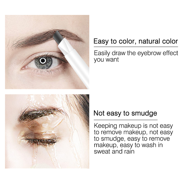 MIXDAIR Eyebrow Pencil 4 Colors Natural Long Lasting Paint Eye Brow Tint Double-end Waterproof Eyebrow Pen Beauty Make Up 3