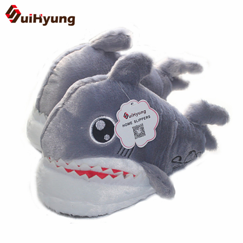 Suihyung Funny Shark Slippers Women Men Winter Warm Flock Indoor Shoes Female Animal Prints Plush Cotton Shoes Floor Slippers suihyung funny rabbit shape women winter home slippers plush indoor floor shoes female warm furry soft bottom slippers chinelos