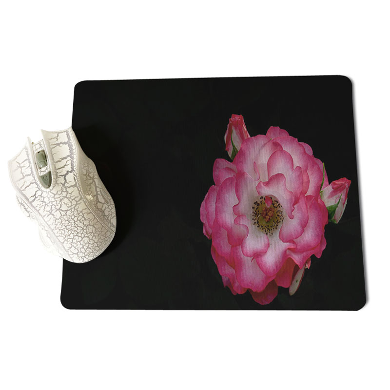 Babaite My Favorite Black background and flowers gamer play mats Mousepad Size for 18x22cm 25x29cm Rubber Mousemats