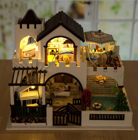 Wooden Diy Doll House Love Castle With Furniture Light