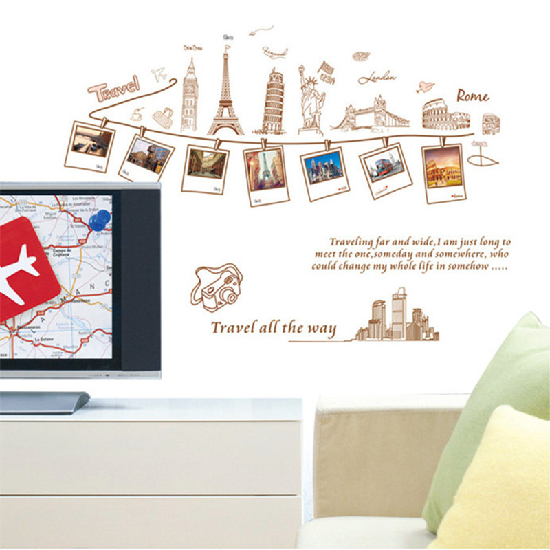 1pc Travel Photo PVC Wall Stickers Creative Wall Decorations Removable  Bedroom Home Sticker For Kids Rooms