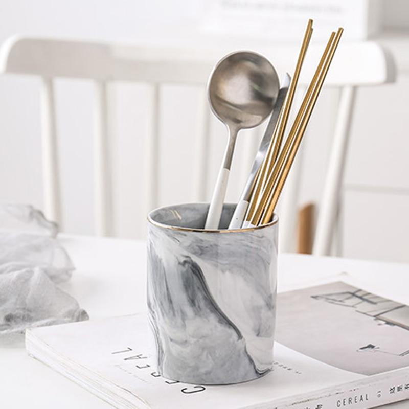 1pc cerâmica caneta titular mármore textura lápis copo pote organizador de mesa maquiagem escova titular p7ding