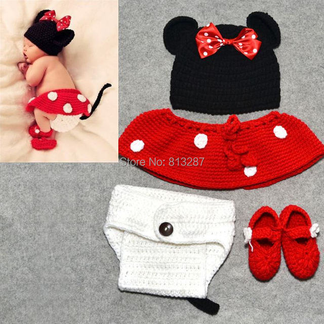 a757e67cee0ac9 Lovely Baby Crochet Mickey Mouse Hat Skirt Pants Shoes Sets Infant Baby  Photo Props Toddler Hats Caps 4pcs Set Drop Ship DH00003