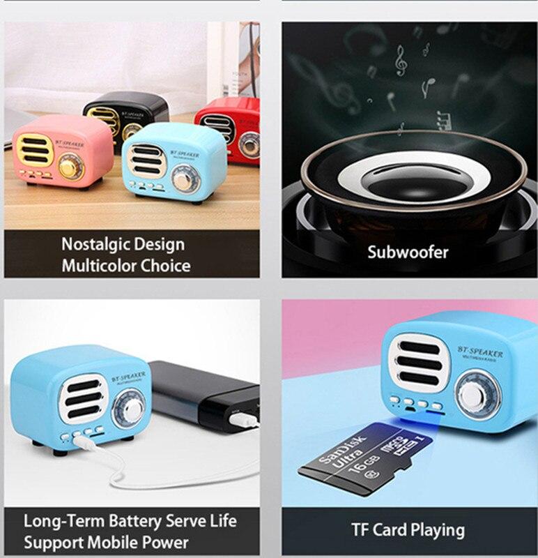 Nasin BT02 Retro Bluetooth Speaker Vintage Mini Bluetooth Speaker Nostalgic Heavy Bass 3D Stereo Sound Effects TF card USB AUX