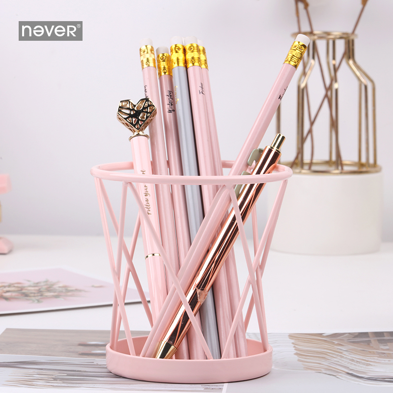 Surprising Never Macaron Pink Metal Pen Holder Pencil Cup Office Supplies Mesh Desk Organizer Accessories Girls Business Gift Stationery Home Interior And Landscaping Sapresignezvosmurscom