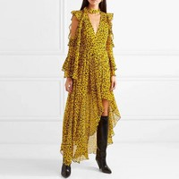 Fashion Runway Irregula Holiday Women Dress Summer Yellow Leopard Print Chiffon Ruffles Long Dress Sexy Off Shoulder Bow Dress