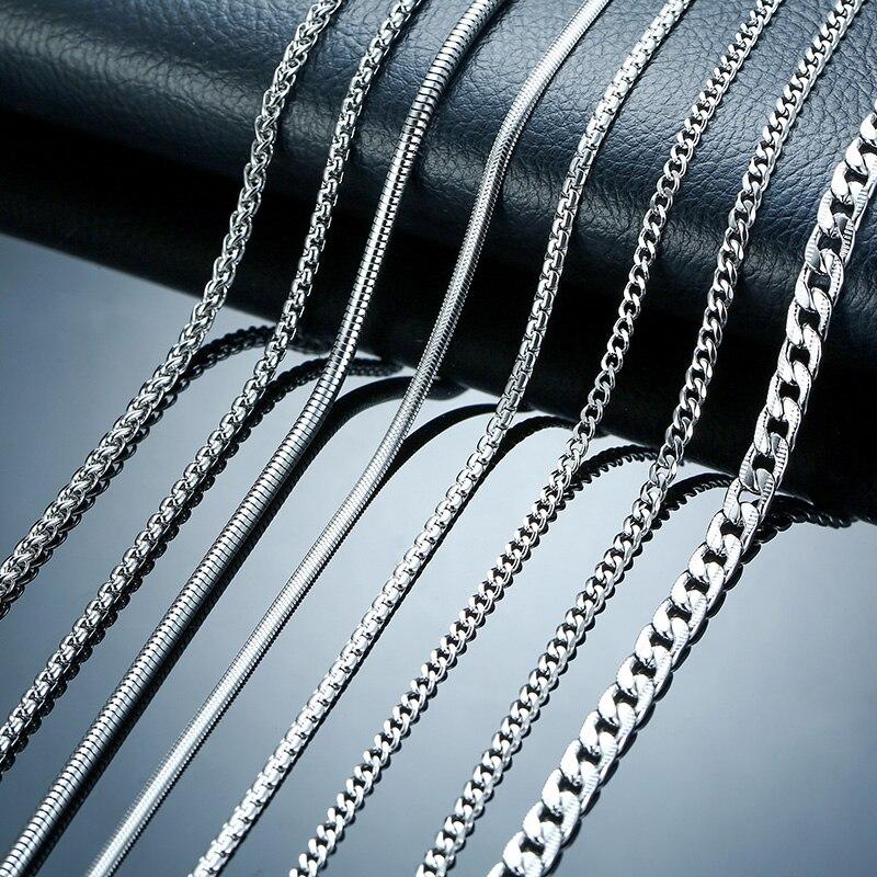 Vnox мм 3-6 мм Серебряный тон Змея кокон бордюр ссылка плоская коробка пшеницы цепи нержавеющая сталь для мужчин ювелирные изделия 24 дюймов