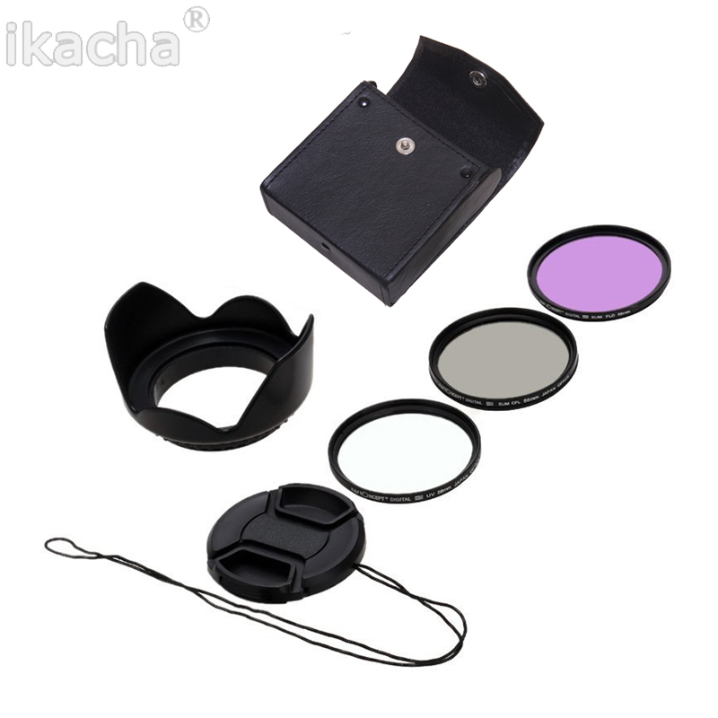 Ikacha 49mm 58mm 67mm 55mm filtre uv 52mm fld cpl lentille ensemble lens hood pour canon eos 600d sony pour nikon d7100 5200 d5300 d3300