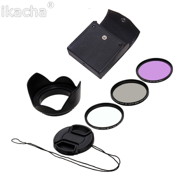 ikacha 49mm 58mm 67mm 55mm UV Filter 52mm FLD CPL Lens Set Lens Hood for Canon eos 600d Sony for Nikon d7100 5200 d5300 d3300
